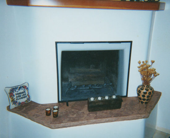 A custom stone fireplace