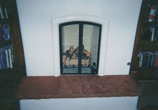 A custom stone hearth
